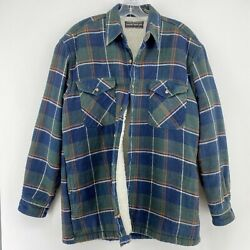 Vtg David Taylor Ramie Cotton Plaid Flannel Sherpa Insulated Shacket Jacket Med.