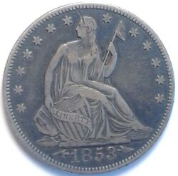 1853 Liberty Seated Silver Half Dollar 50 Cents Coin