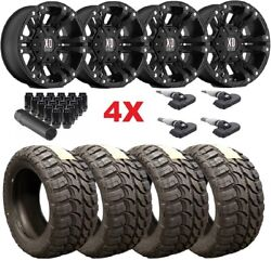 Xd Monster Ii 2 Xd822 Black Wheels Rims 33 12.50 18 Tires Mt F-150