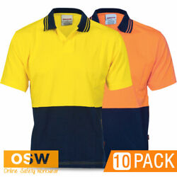 10 X Hi Vis Cool Combed Cotton Jersey Short Sleeve Food Industry Work Polos 3905