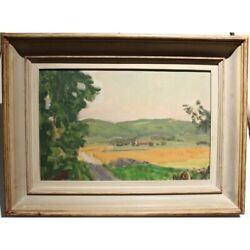 Vintage 20th Original Swiss Wheat Fields Oil Cardboard Painting Signed Chinet