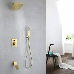 10 Inch Bathroom Shower System And Handle Gold Color Waterfall Tub Filler Faucet
