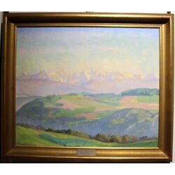 Antique Original Swiss 1912-1937 Painting Landscape Mönch And Jungfrau Signed