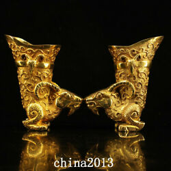 China Old Tang Dynasty Palace Temple A Pair Bronze 24k Gilt Sheep Head Wine Cup