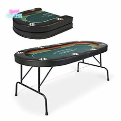 Poker Table Card Game Casino Felt Top Texas Holdem Padded 8 Players Portable