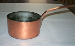 Antique Hammered Copper Cooking Pot Saucepan With Hand Forged Long Handle 1800's