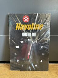 Havoline Clock Sign Motor Oil Can Display Store Station Texaco New