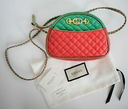 New Auth Trapuntata Red Green Metallic Quilted Leather Mini Crossbody Bag