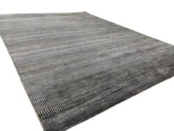 9and039 X 12and039 Handmade Hand Knotted Transitional Gray Blue Rug