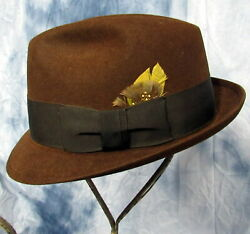 1930and039s Menand039s Royal Stetson Brown Fedora Hat With Feather Size 7 In Original Box