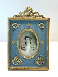 Wonderful Antique Picture Frame With Delicate Dore Bronze Mounts 4 1/2 X 7