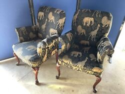 Superb Pair Of Hollywood Regency Wingback Safari Chairs After