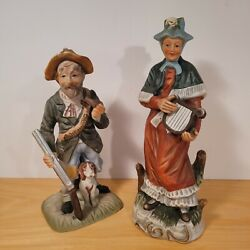 Vintage Figurines Old Man Hunter With Dog And Woman Playing Harp Porcelain Bisque