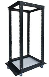 22u Rack Open Frame 4 Post Enclosure 24and039and039 - 37and039and039 Adjustable Depth On Casters