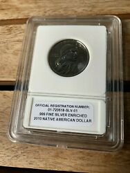 2010 Sacagawea American Dollar Proof Coin, .999 Fine Silver Enriched
