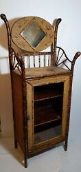 Antique Tortoise Bamboo Rattan Display Cabinet Asian Chinoiserie Victorian Stand