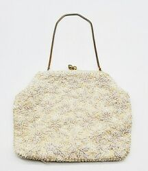 Vintage Ivory White Beads Sequin Evening Bag Clutch Genuine Hong Kong 8quot; x 6quot; $9.47