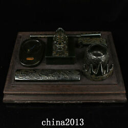Old Dynasty Palace Temple 1 Set Nephrite Hetian Jade Inkstone Seal Statue W/box