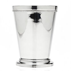4.25in Beaded Metal Cup Bar Ware Silver Plated Mint Julep Drink Glass Vase Decor