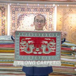 Yilong 1.5'x2' Chinese Dragon Handwoven Silk Rug Home Decor Tapestry Carpet 094h