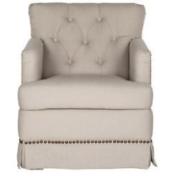 Millicent Swivel Accent Chair - Brass Nail Heads