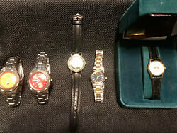 Vintage Lot Of 5 Fossil And Citizen Women's Wrist Watches And One Is A Barbie