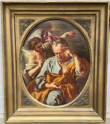Antique 18-19thc. St. Peter Freed By Angel Oil Painting, Christianity, Religion