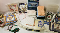 Large Lot Of Cross Stitch Books, Kits, Book Marks, Hand Towels, 14c Fabric