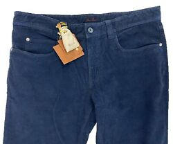 Loro Piana Navy Blue 5 Tasche Cotton Corduroy Pants Size Us 38 Made In Italy