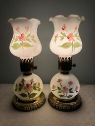 Vintage Hand Painted Milk Glass Bed Side Table Or Vanity Lamps