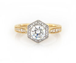 New Gabriel And Co. 0.28ctw Hexagonal Frame Two Tone Semi Mount Ring In 14k