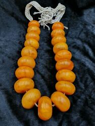 Huge 638 Grams Antique Copal Amber Traditional African Trade Beads Necklace