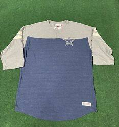 Mitchell And Ness Throwback Dallas Cowboys Henley T-shirt Authentic Medium 3xl