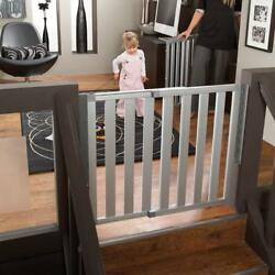 Stairs Top Tall Aluminum Entry Gate Swing Baby Safety Pet Barrier Fence Hall Way