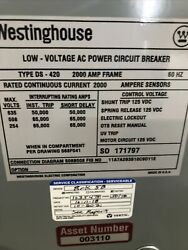 Westinghouse Magnum Ds420 2000 Amp 1600 Amp Trip Circuit Breaker With Rp6d20a160