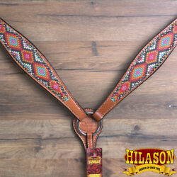 C-o-bc Hilason Western Horse Breast Collar American Leather Painted Geomatric