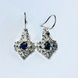 Natural Sapphire 925 Silver 9ct 14k 18k Yellow White Rose Gold Drop Earrings