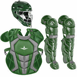 All-star System7 Axis Nocsae Youth Baseball Catcherand039s Package - Dark Green