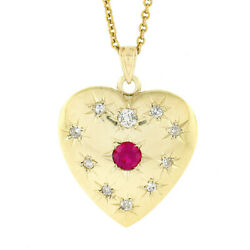 Antique Victorian 14k Gold Star Pave Red Stone And Diamond Heart Pendant Necklace