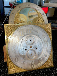 Antique Victorian Hall/ Grandfather Moon Clock Movement, Dial, Chime-herschede