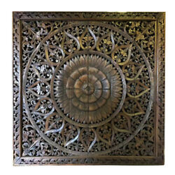 71in Wooden Hand Carved Wall Art Decorative Thai Anitique Style Headborad Panels