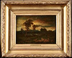 Sunset Landscape John Constable Circle C.1800 Old Master Oil Painting Canvas.