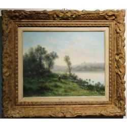 Antique 19th France Original Riverboard Oil Canvas Painting Signed Godchaux