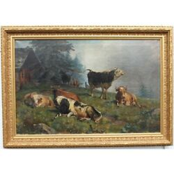 Antique 19th Germany Rare Original Cows Oil Canvas Painting Signed Wolf