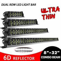 8/14/22/32 Led Dual Rows Work Light Bar Tractor Boat Offroad 4wd Truck Suv Wire