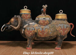 23 Han Dynasty Bronze Ware Painting Palace Cattle Ox Zun Incense Burner Censer