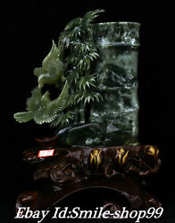 16and039and039 Rare Natural Green Jade Carved Bamboo Zi Magpie Bird Pen Holder Statue