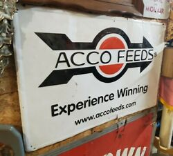 Vintage Acco Feed Sign 36x24 And Acco Feed Thermometer 14x4.5 Sold As Set