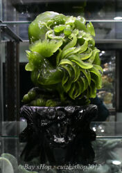 16 Chinese Natural Xiu Jade Carving Feng Shui Cock Rooster Luck Base Statue