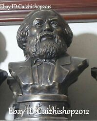 18 Old China Bronze Marx Politician Philosopher Revolutionary Head Bust Statues